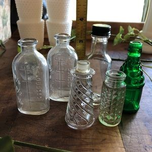 Vtg 6 tiny bottles, fitchs, effanbee, cut glass